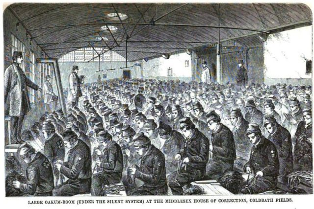 The prisoners hard at work. Author: Google scan of 1864 book by Henry Mayhew & John Binny