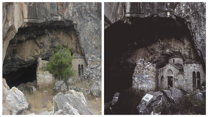 Left: The entrance to the cave Author: NikosFF - CC BY-SA 4.0 Right: The church at the entrance of the cave Author: George Halliwell - CC BY-SA 4.0
