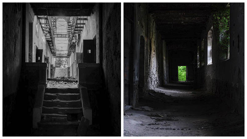 Left: The prison cells Author: daria raducanu CC BY-SA 3.0 ro / Right: A dark prison hallway Author: Daria Virbanescu CC BY-SA 4.0