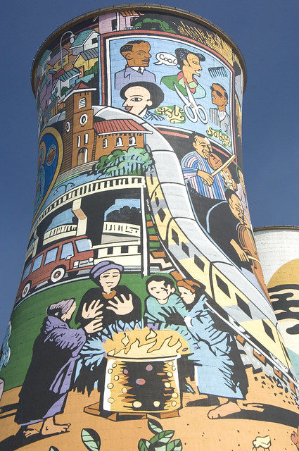 Decorated cooling towers, Orlando Power Station, Soweto Johannesburg – Author: Media Club – CC BY 2.0