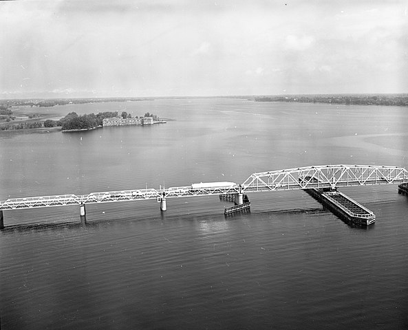 Aerial view of Lake Champlain Bridge, Fort Montgomery in the background.