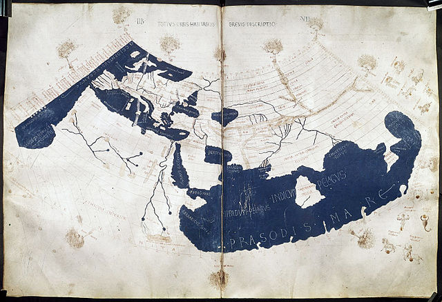 """""""A Renaissance reconstruction of Ptolemy's 1st projection, showing the Land of Silk (Serica) in northeast Asia at the end of the overland Silk Road and the land of the Qin (Sinae) in the southeast at the end of the maritime routes; 1450–1475 AD, attributed to Francesco del Chierico and translated from Greek to Latin by Emanuel Chrysoloras and Jacobus Angelus."""""""