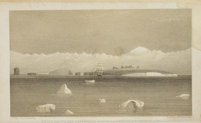 "Illustration from A Voyage of Discovery in the Antarctic Regions During the Years 1839–43, by Sir James Clark Ross. ""Mount Sarine and Possession Island Discovered 11th January 1841."""