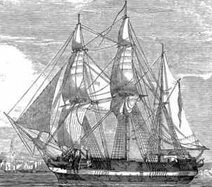 Either HMS Erebus or HMS Terror, published in the Illustrated London News in 1845