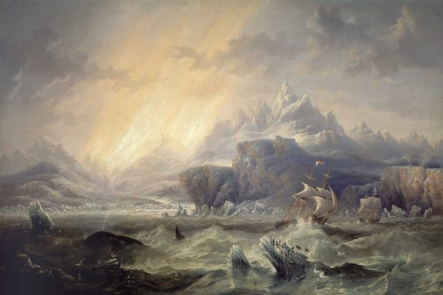 HMS Erebus and HMS Terror in the Antarctic, by John Wilson Carmichael, 1847
