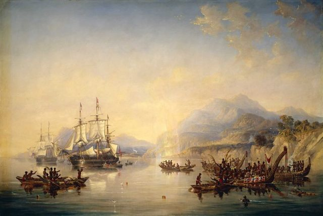 HMS Erebus and HMS Terror in New Zealand. Author: James Wilson Carmichael
