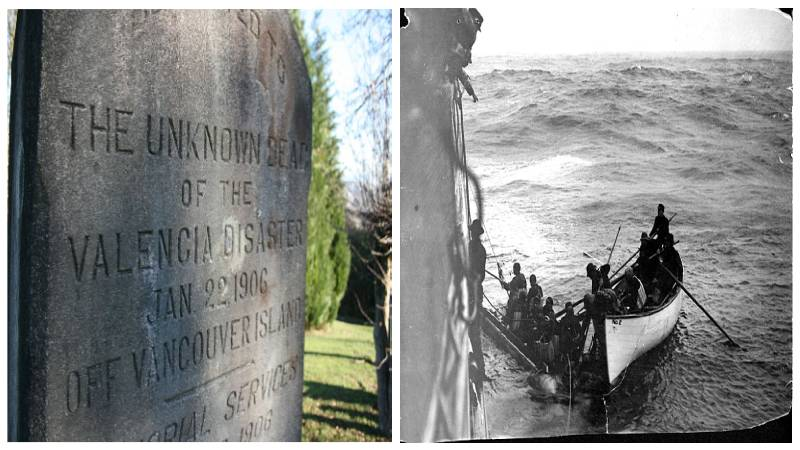 Left: The unknown dead of the Valencia disaster. Author: Choogler - CC BY-SA 3.0. Right: Some of the SS Valencia Survivors. Author: Unknown - Public Domain.