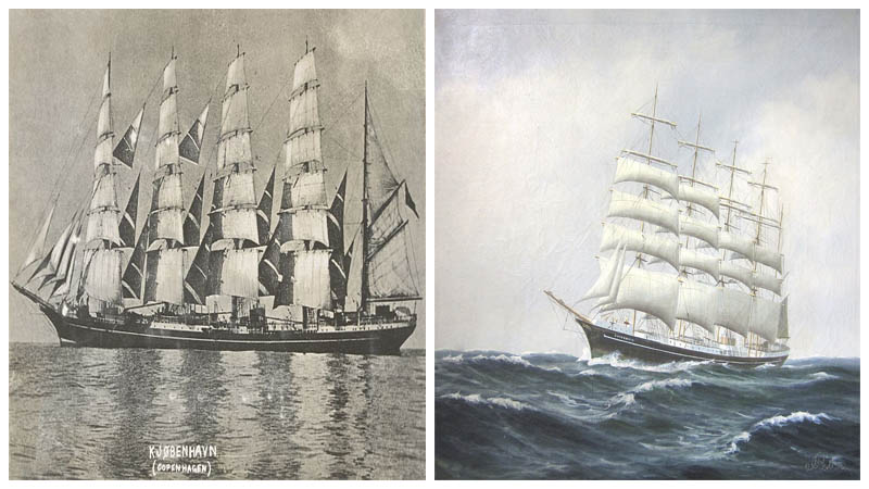 Left: København under full sail / Right: Five masted barque København. Author:  Peder Christian Pedersen - CC BY-SA 4.0
