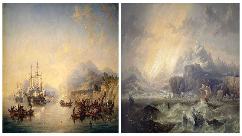 Left: Erebus and Terror in the Antarctic / Right: Erebus and Terror in New Zealand