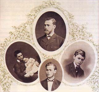 The Nobel brothers (clockwise) Robert, Alfred, Ludvig, and baby Emil. This photo is from St. Petersburg, around 1843.