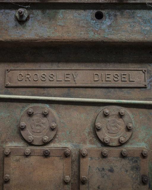 Crossley nameplate. Author: Matt Emmett | Facebook @ForgottenHeritagePhotography