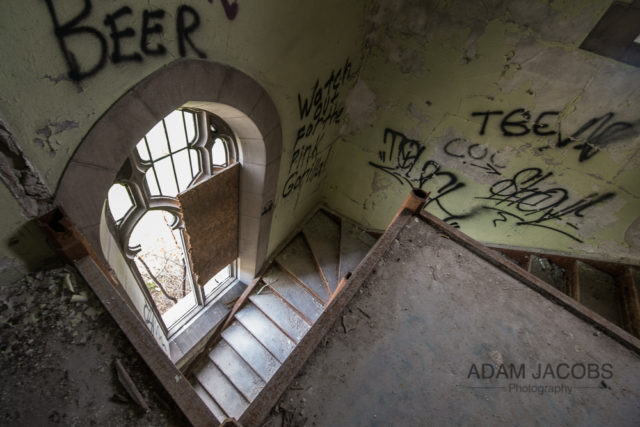 The stairs leading to the balcony. Author: Adam Jacobs – AdamJacobsPhotography.com