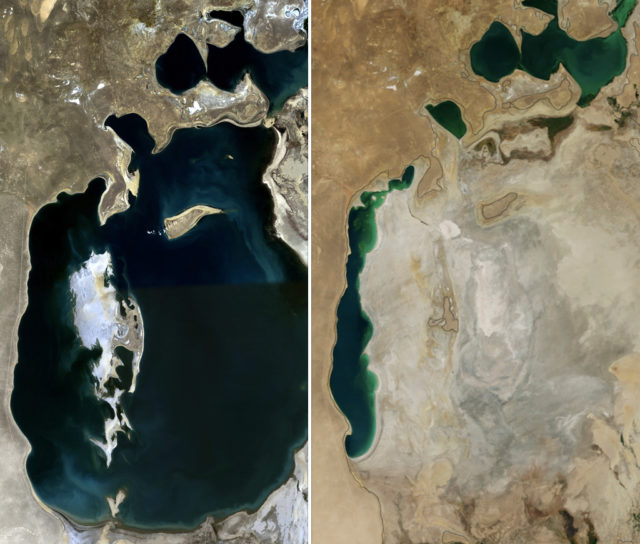 Aral Sea in 1989 (left) and 2014 (right). By NASA