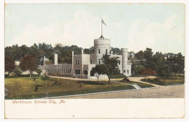 Postcard of the Kansas City workhouse castle, circa 1907, from the Mrs. Sam Ray Postcard Collection