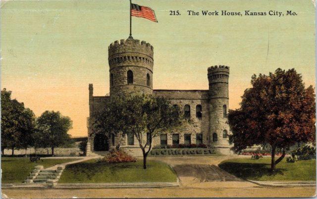Kansas City workhouse castle postcard, 1911