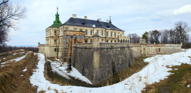 Spring panorama view of old Pidhirtsi Castle