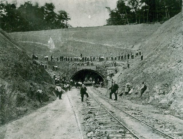 This photo was taken during the construction of Rays Hill Tunnel in the 1880s for the Southern Pennsylvania Railroad.