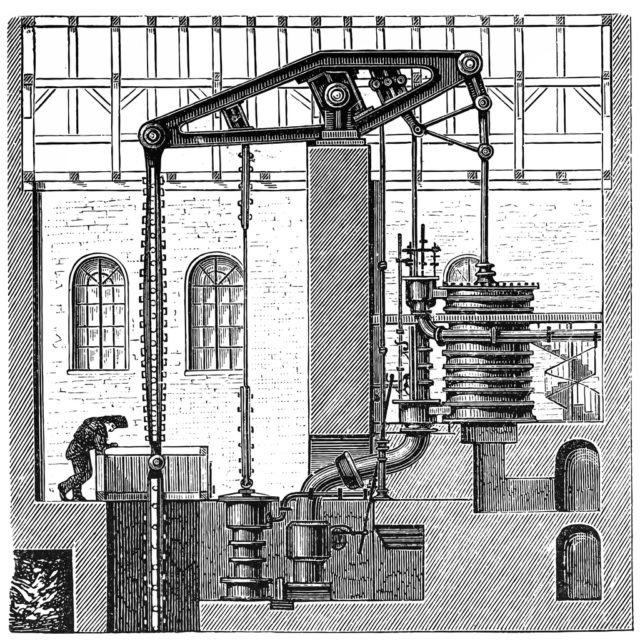 Illustration of a Cornish Beam Engine