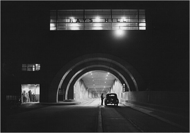 Nighttime view of Rays Hill Tunnel on the Pennsylvania Turnpike. Taken by an employee of the Office of War Information.
