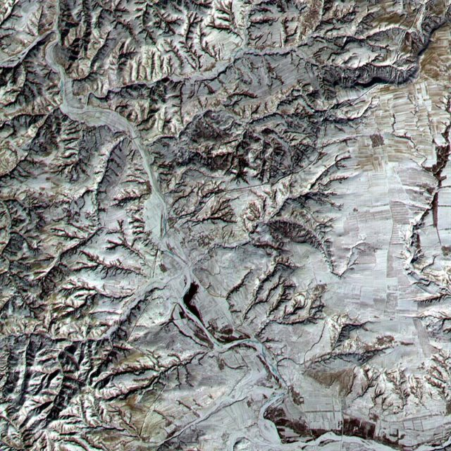 A satellite image of the Great Wall of China