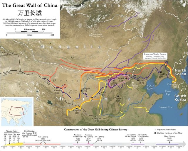 Map of the Great Wall of China. By Maximilian Dörrbecker (Chumwa), CC BY-SA 2.5