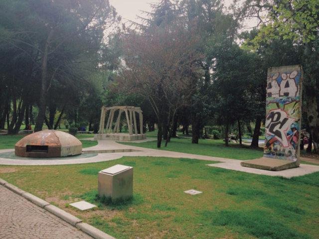 A bunker in Tirana park. By Kj1595 – Own work, CC BY-SA 3.0