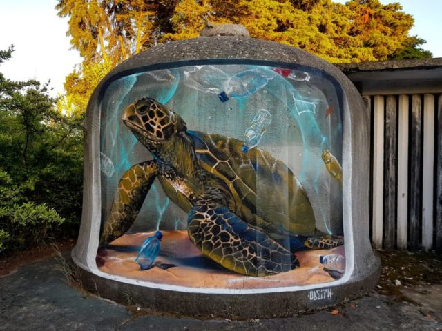 Turtle surrounded by plastic. By Sérgio Odeith