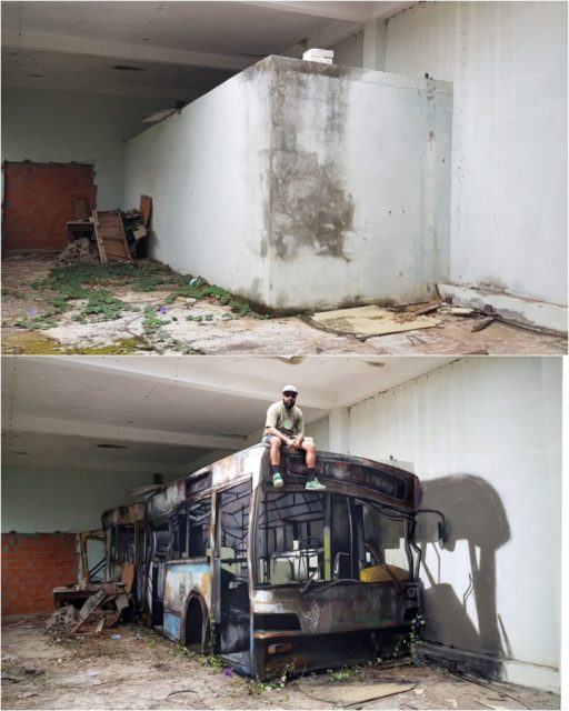 Wrecked bus: before and after. By Sérgio Odeith