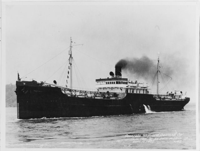 The concrete oil tanker SS Palo Alto on her sea trials on 10 September 1920 in Oakland, California.