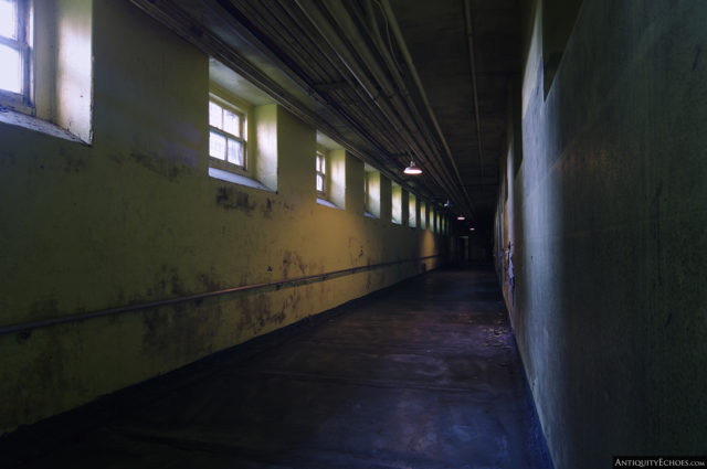 The underground tunnel that connected the hospital's many buildings
