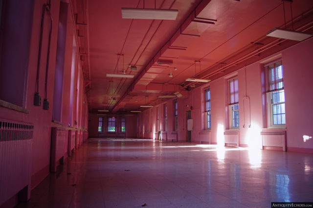 A pink-coloured ward within the Allentown State Hospital