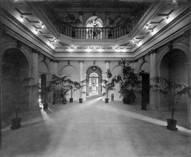 The lobby of the Allentown State Hospital filled with plants