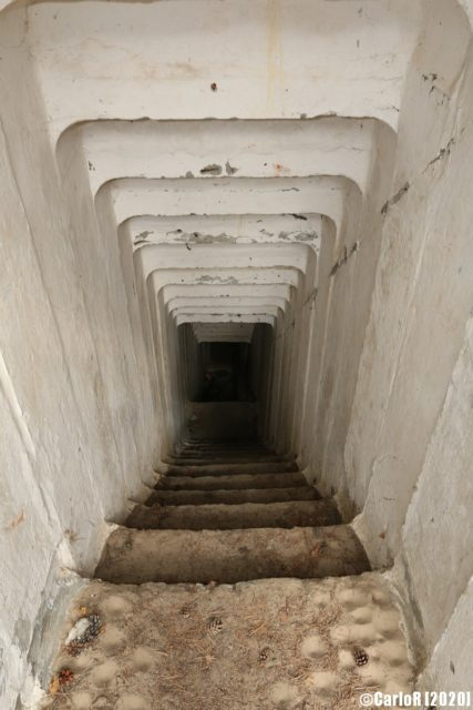 Stairs of the bunker Tuman leading to the main portion of the interior. (Photo Credit: CarloR)