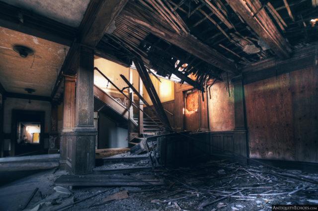 Broken staircase inside Bennett College