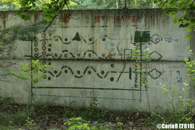 Exterior cement wall with symbols painted on it