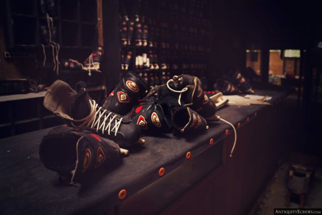 Pile of roller skates on a table