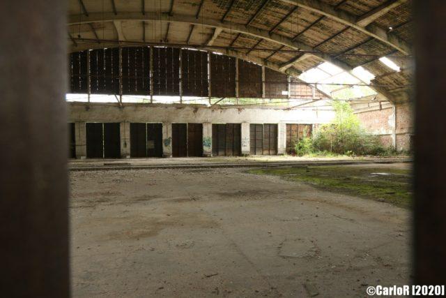 Airplane hangar interior