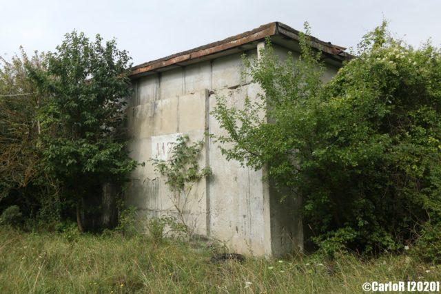 Concrete building exterior surrounded by bushes