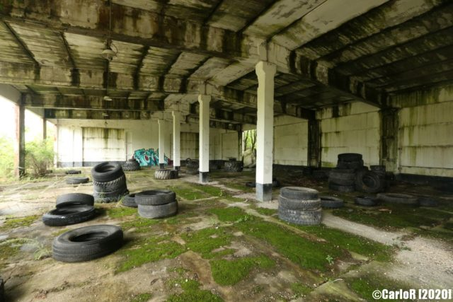 Building interior with rubber tires on the floor