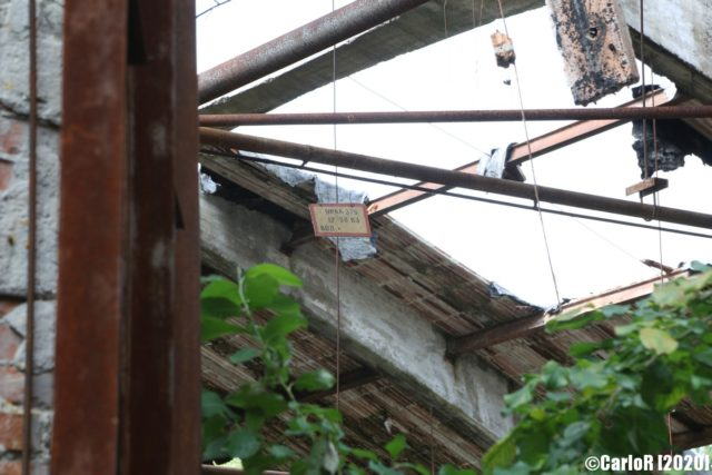 View of a collapsed roof from the ground