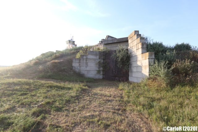 Cement bunker built into the ground at Tököl Airbase