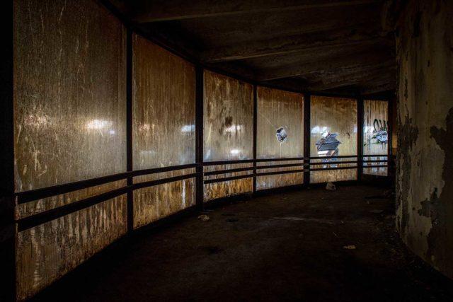 Darkened empty hallway