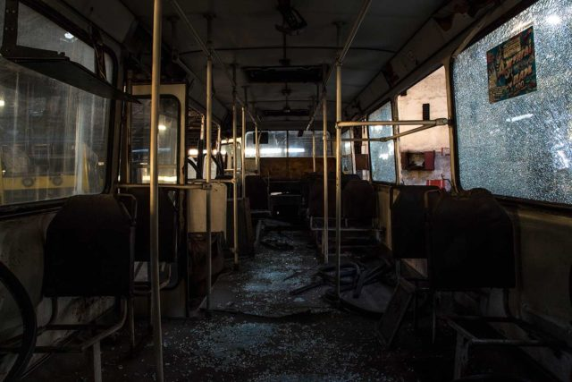 Interior of an abandoned bus