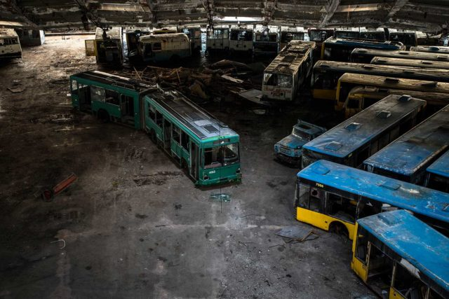 Overhead view of abandoned buses