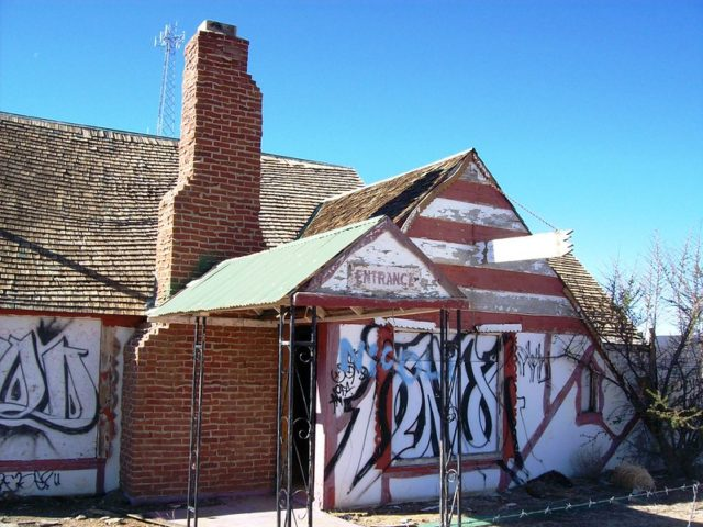 Graffitied exterior of a building at Santa Claus