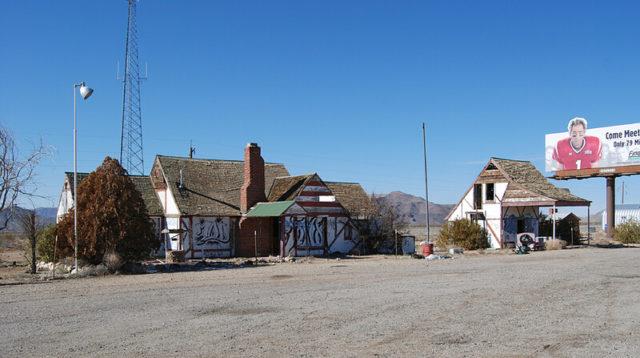 Two buildings and a billboard at Santa Claus