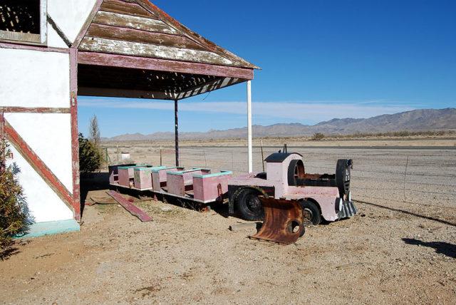 Old 1225 pink children's train in the desert