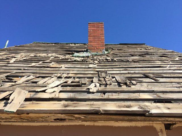 Deteriorating wooden roof