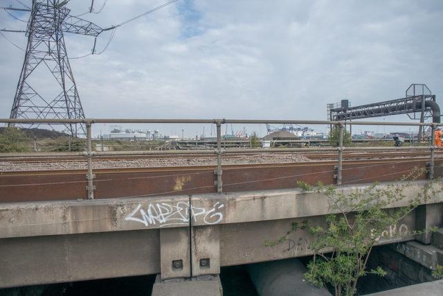 Railway line with graffiti