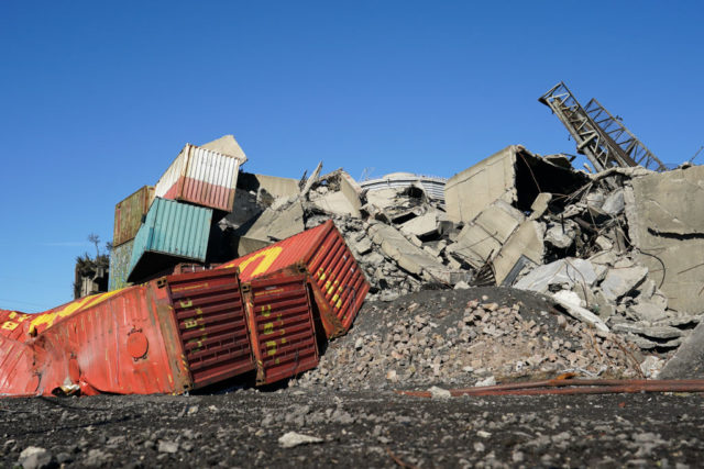 Pile of rubble at the Dorman Long tower site
